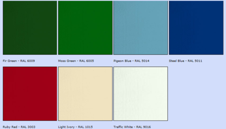 from left - fir green, moss green, pigeon blue, steel blue, ruby red, light ivory, traffic white
